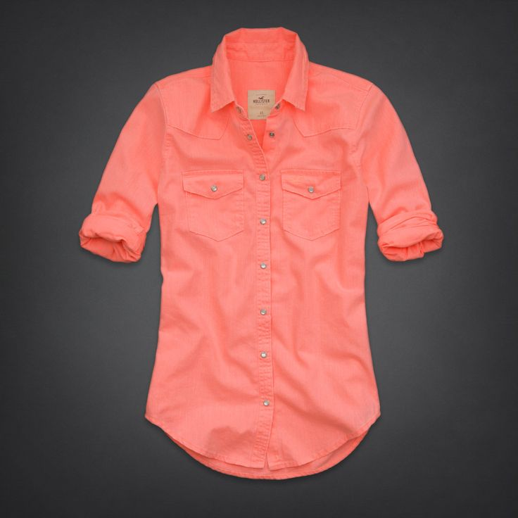 coral button up shirt