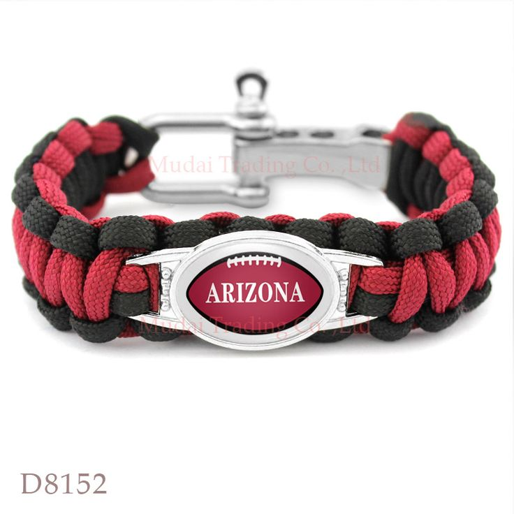 (10PCS/lot) Arizona Football Team Cardinals Adjustable Paracord Survival Friendship Camping Sports Bracelet Red Black
