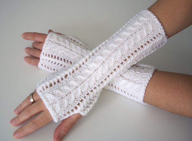 beyaz örgü eldiven