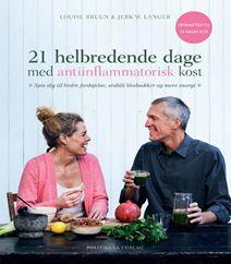 Bestselleren 21 helbredende dage med antiinflammatorisk kost af Louise Bruun og Jerk Langer er en opskriftsbog med teori og opskrifter til sund kost. Klik på forsidefotoet og læs meget mere om bogen.