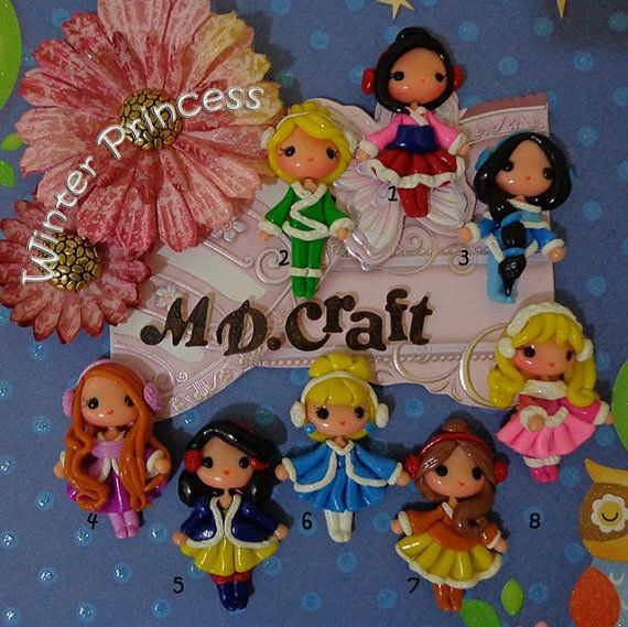 Set of Winter Princess Polymer Clay Charm Bead Scrapbooking Embelishment Bow Center Pendant Cupcake Topper