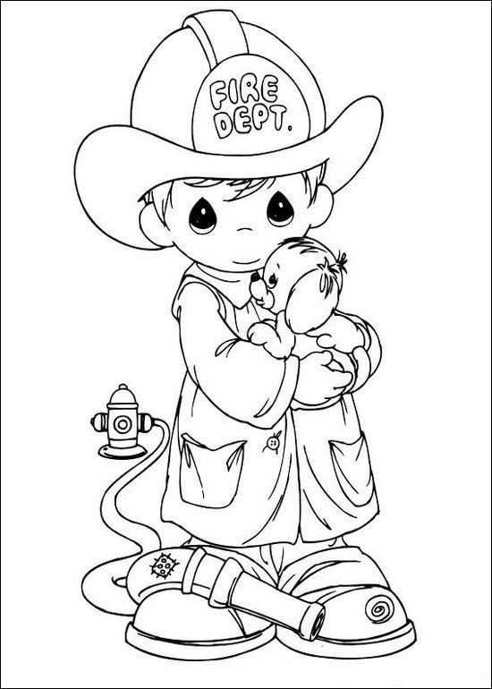 Precious Moments Fire Fighter Rescue A Dog Coloring Page Color Me
