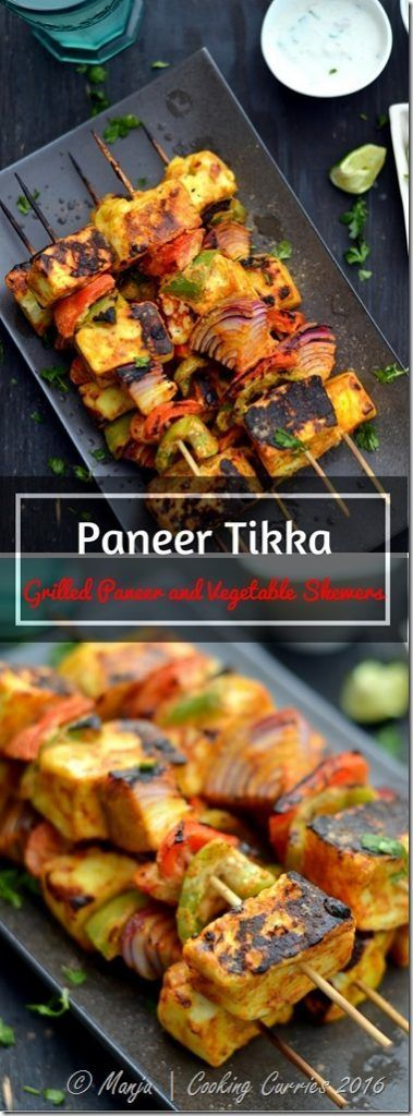 Paneer Tikka - Grilled Paneer and Vegetable Skewers - Cooking Curries