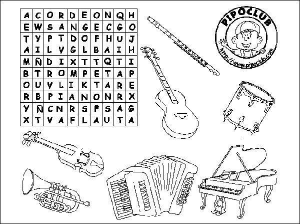 Sopa de letras: instrumentos de música