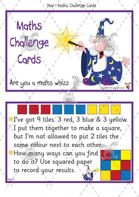 Teacher's Pet - Year 1 Maths Challenge Cards (pack 2) - Premium Printable Classroom Activities and Games - EYFS, KS1, KS2, independent, math...
