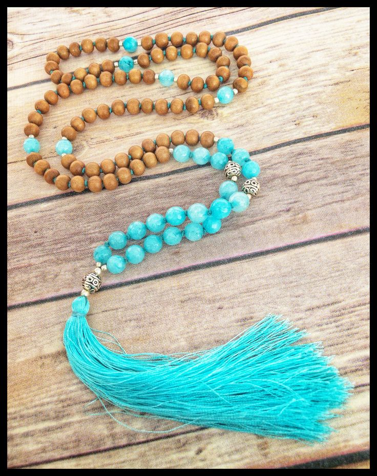 sandalwood blue jade mala
