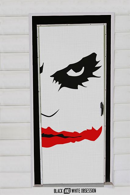 Movie Themed Halloween Door Decorations: Joker/Batman | www.blackandwhiteobsession.com