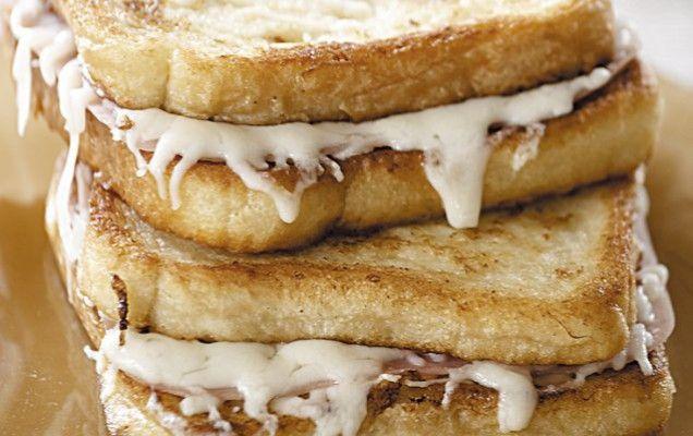 Σαντουιτσάκια με αυγοφέτες, τυρί και ζαμπόν