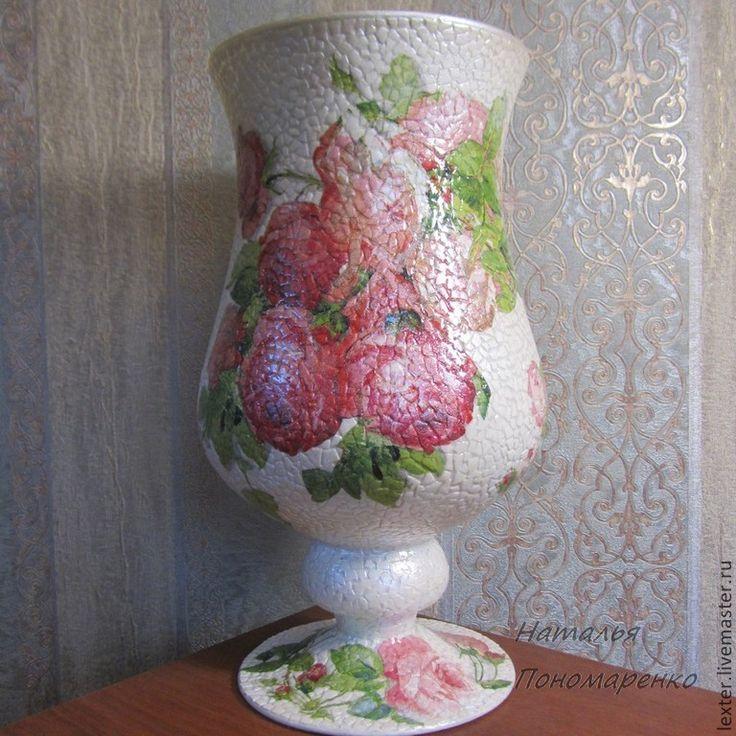 Купить Вазы ручной работы. Стеклянная ваза Шикарные розы - розовый, розы, розовые цветы