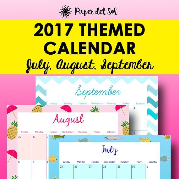 July 2017 Printable Calendar, August 2017 Calendar