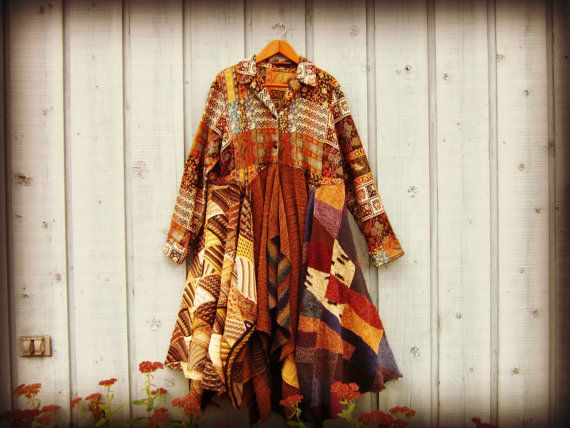 1X Upcycled Bohemian Gypsy Coat// Plus Size Multi by emmevielle