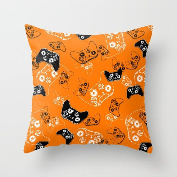 Gamer Pillow with Insert, Video Game Pillow, Gaming Pillow, Gamer Gifts, Gamer Room Orange Pillow, G #gamerroom Gamer Pillow with Insert, Video Game P…