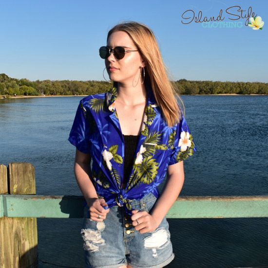 Ladies Hawaiian Shirt - Blue HIbiscus - party clothing, schoolies, music fest, cruise and casual.