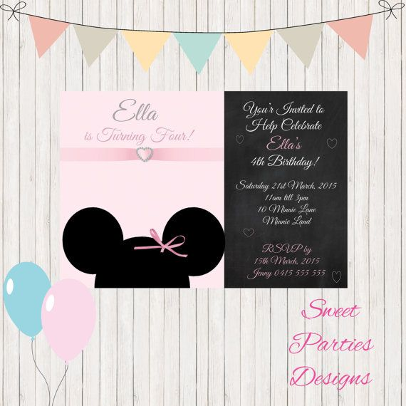 Hey, I found this really awesome Etsy listing at https://www.etsy.com/listing/240330521/minnie-mouse-invitation-girls-1st