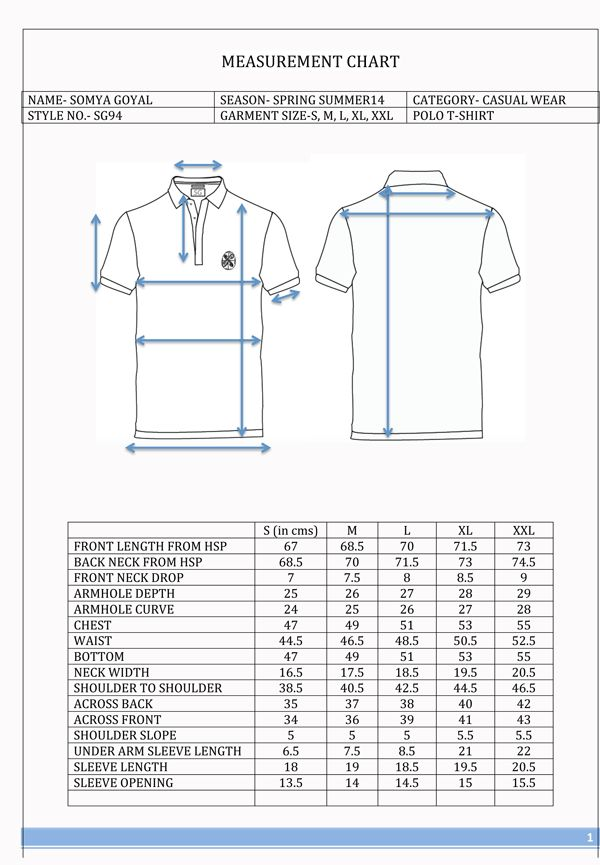 "Tech pack designed for ""SG Pvt. Ltd."" Knits T-shirt with collar in two collars. Consists of specification sheet, construction sheet, trim sheet, artwork sheet and cost sheet."