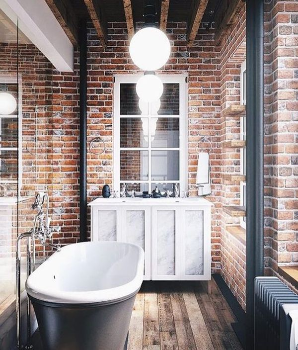 25 Stylish And Trendy Bathroom With Exposed Brick Tiles Home Design And Interior Brick Bathroom Stylish Bathroom Bathroom Design