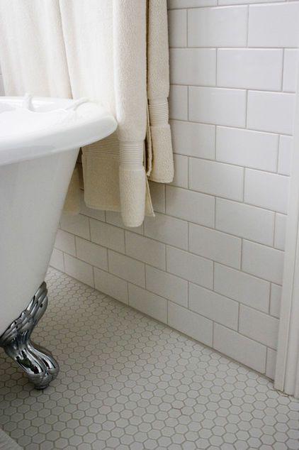 1920s Bathroom. darker grout (more vintage) hex floor, subway bathtub wall. (beadboard remaining walls)
