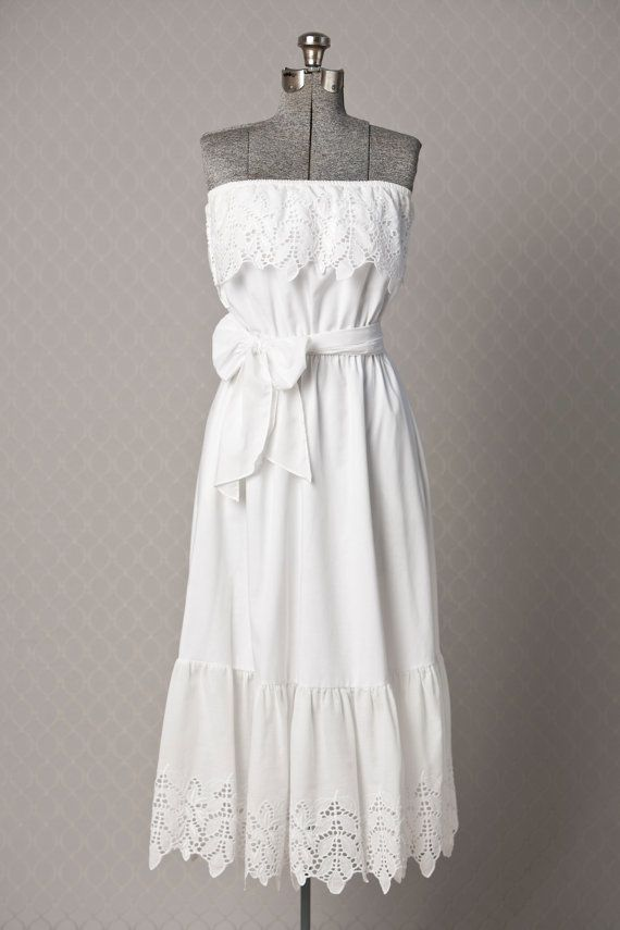 Womens 1970s White BOHO Vitnage Maxi Dress //  by vintagesalvation, $75.00