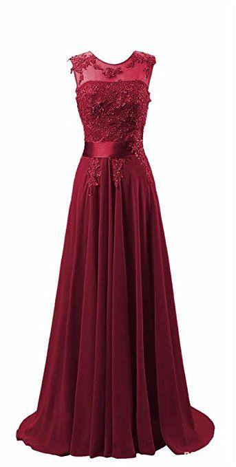 Kmformals Damen Chiffon Langes Party Ballkleid Abendkleid 32 Burgund: Amazon.de: Bekleidung