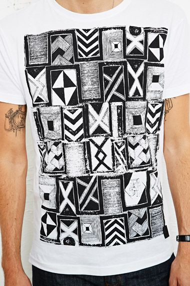 Anerkjendt Eggert Tribal Tee in White at Urban Outfitters
