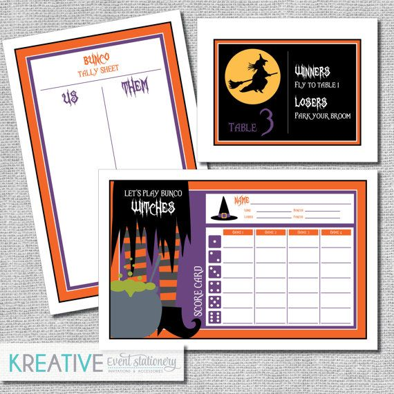Halloween Bunco Score Card Set  Let's Play Bunco by kreativees