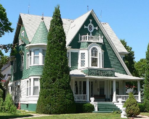 """The Kendall House in Superior: Nebraska's """"Victorian Capitol"""".  The city holds a Victorian festimval each year in which its beautifully maintained Victorian architecture is on display.  Superior's entire downtown district is listed in the National Register of Historic Places.  #mansion"""