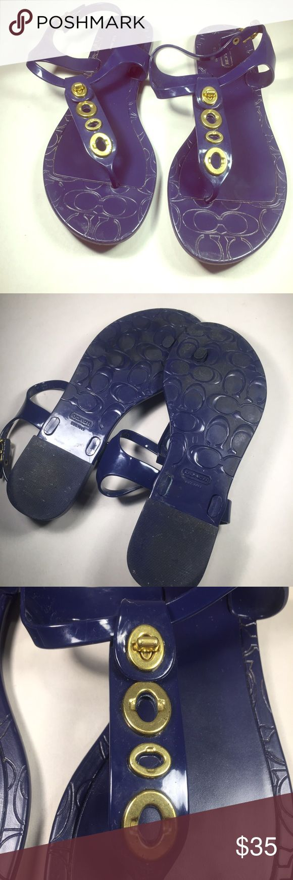 COACH Women's Jelly Sandals.  Size 8B COACH Women's Jelly Sandals.  Size 8B.  Open toe and a adjustable side strap. COACH logo styled on the insoles.   Dark Purple and Brass Hardware. Nice pre-owned condition and adorable COACH style! Orig. $80.00. Coach Shoes Sandals