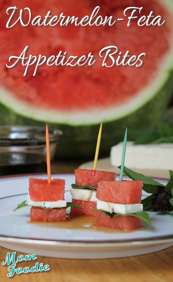 watermelon feta appetizer bites. we had something similar at an awards banquet last spring, but instead of feta it was bleu cheese - yumm-o!