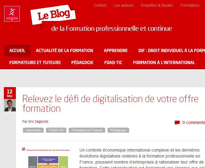 Blog de CEGOS : actualités de la FPC, législation, pédagogie, TICE…