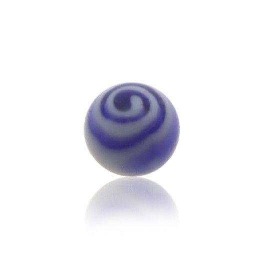 Boule de piercing en plastique avec tourbillon. Couleur bleue foncée.
