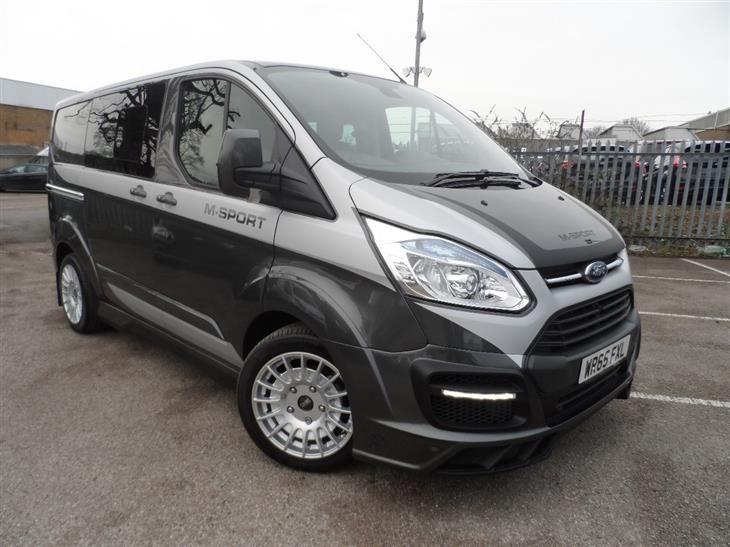 Used 2016 Ford Transit Custom 290 L1 M-SPORT Double Cab Van 2.2 TDCI 155ps in Magnetic Grey with Full Silver Rally Sticker Pack & Hyper Silver Wheels for sale in Bedfordshire | Pistonheads
