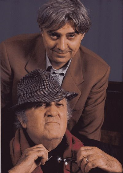 The cartoonist Milo Manara with the legendary director Federico Fellini.
