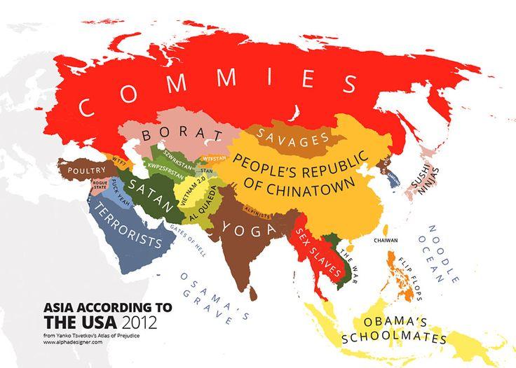 Najlepších Obrázkov Na Tému Alphadesigner Mapping Stereotypes - Map asia us uk australia