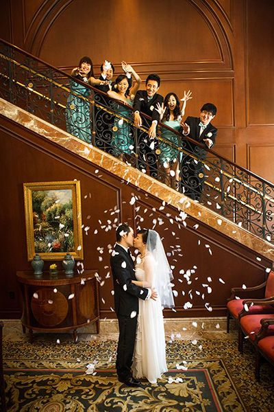 Have your bridal party shower you with flower petals.