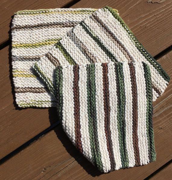 Brei vaatdoek instellen / katoen washandje (hand gebreide schotel doek) Set van 3