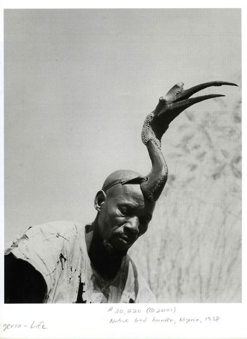 Bird hunter in the savannah , 1938  wearing a hornbill headdress to stalk game. Use of the bird-fetish is an active way of helping to influence the outcome of the hunt. The Hausa and the Nupe live in central and northern Nigeria and Niger in an area of open savannah . https://s-media-cache-ak0.pinimg.com/736x/f3/c4/37/f3c43752568420b55cdcece0baafb3db.jpg