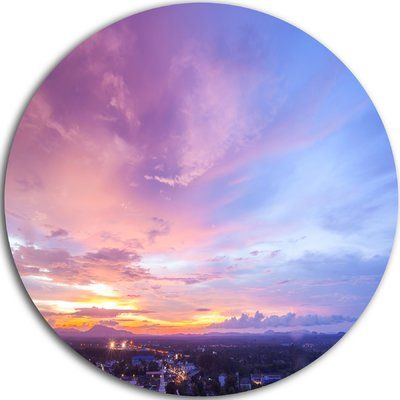 "DesignArt 'Beautiful Sunset at Trang Thailand' Photographic Print on Metal Size: 11"" H x 11"" W x 1"" D"
