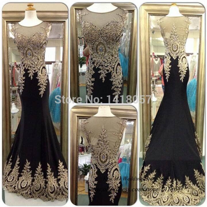 Настоящее фото черный золото длинная кружево вечернее платье элегантный русалка официальный ну вечеринку платья для выпускного вечера подметание поезд Vestido лонго