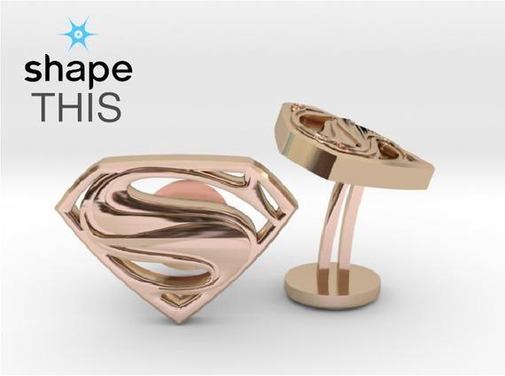 Custom Man Of Steel Super Cufflinks  Personalized Gifts For Him   Keepsake Engraved Cufflinks   Superhero Wedding Cufflinks   Geek Jewelry