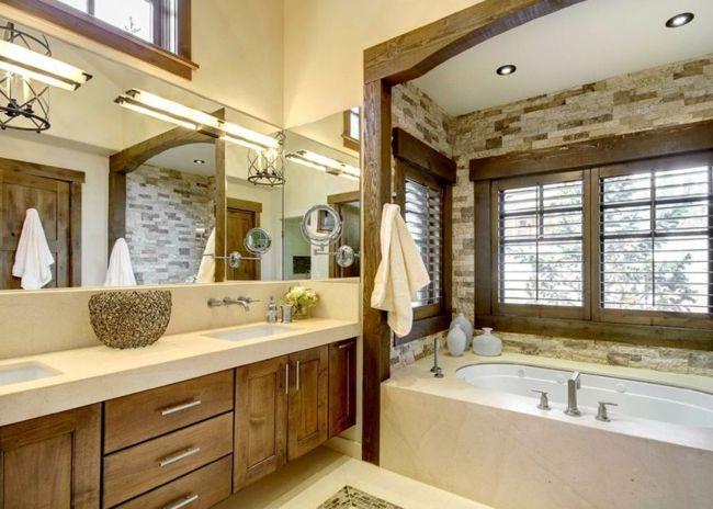 badezimmer gestalten natursteinwand badmbel holz design