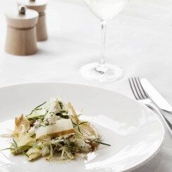 spanner crab salad with brown butter emulsion and granny smith apples