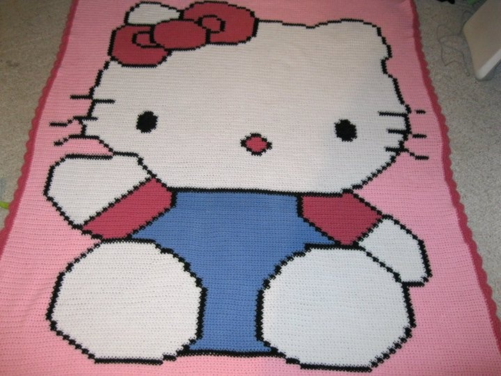 Hello Kitty crocheted character blanket Handmade ...