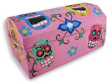 Pink Day of the Dead Sugar Skull Treasure Chest/Trinket Box - eclectic - Decorative Objects And Figurines - Zeckos