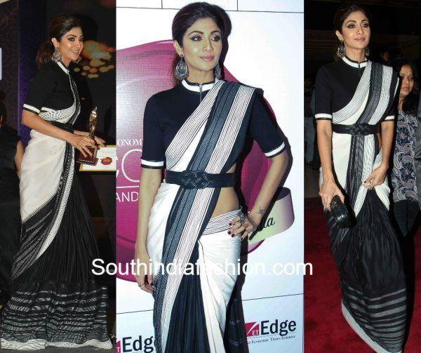 Shilpa Shetty in Shantanu & Nikhil black and white saree with belt