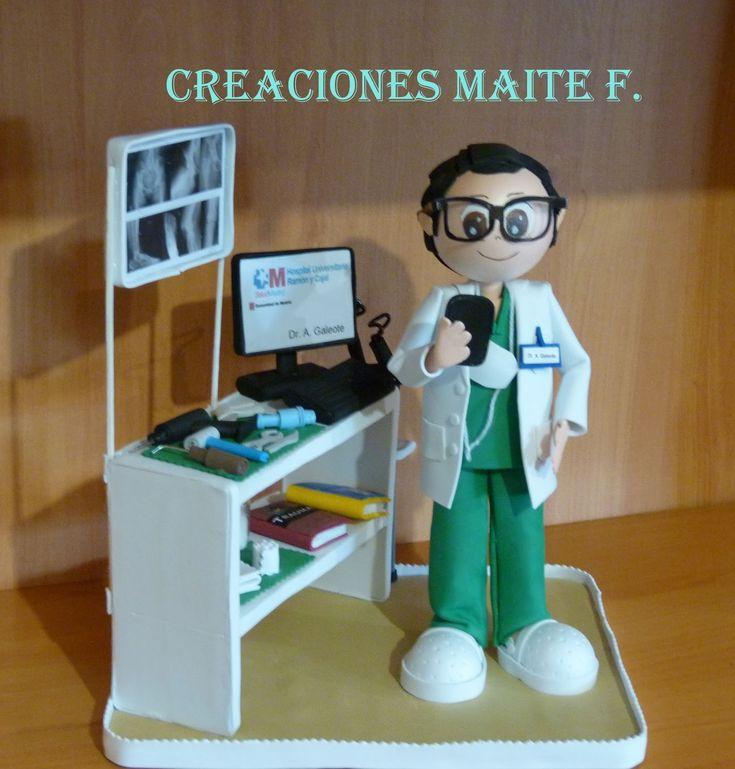 Muñecas fofuchas. Fofucho medico , cirujano traumatologo, con su taller de prótesis, su instrumental de trabajo y no podía faltar la panta...