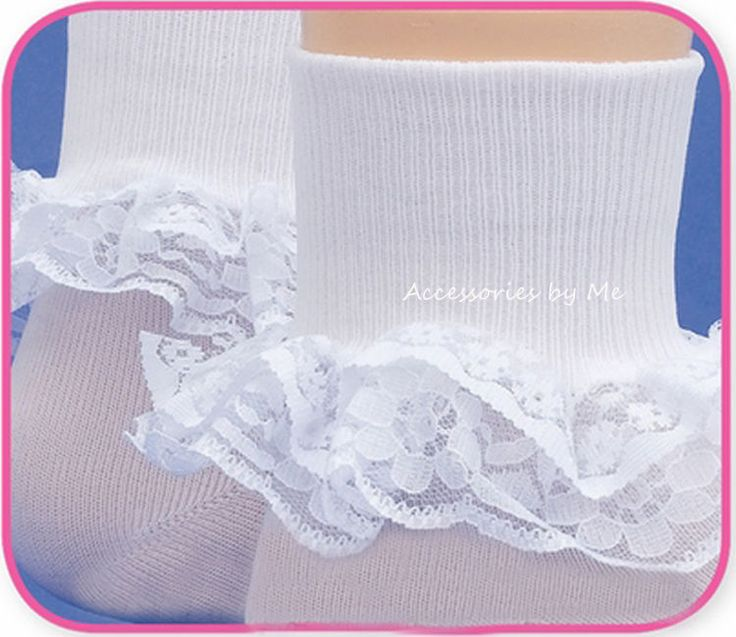 White Lace Trim Socks Nylon Christening Baptism Flower Girl Communion Pageant  #Jefferies #CuffSocks