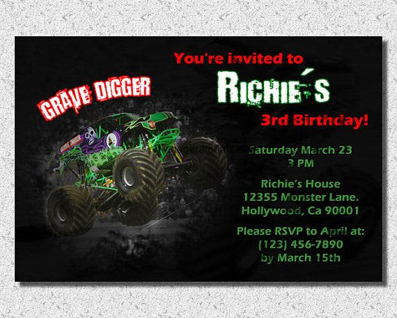 91 best Brooks 6th Bday Ideas images on Pinterest Monster trucks