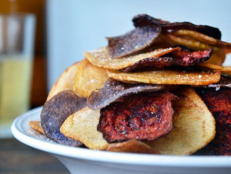 Red, White, and Blue Potato and Beet Chips | Epicurious.com