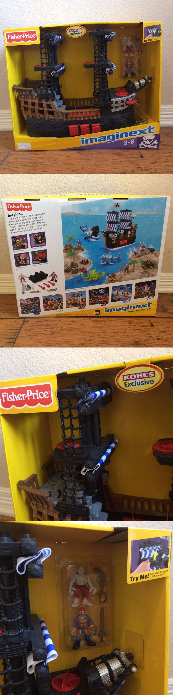 Imaginext 50305: New! Fisher Price Imaginext Pirate Ship Playset Kohls Toy Blue Sails -Quick Ship -> BUY IT NOW ONLY: $60 on eBay!