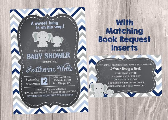 Chalkboard Baby Shower Invitation, Grey and Blue Chevron invitations, Elephants Baby Shower. Grey and Navy Invites. Digital file.